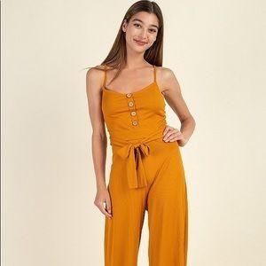 Pants - Waist Side Belt Rib Jumpsuit